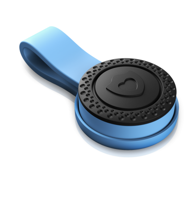 Blue designed wearable emergency device with a magnet lock